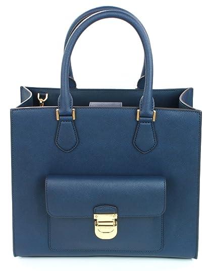 33a5716dabdf ... uk michael kors bridgette tote bag medium handbag saffiano leather navy  dark blue with gold 30e42