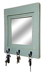Quakertown Farmhouse Mirror With Hooks, 20 Paint Colors - Decorative Mirror, Entryway Decor, Key Holder for Wall, Key Hook, Coat Hook, Entryway Mirror, Key Rack, Wall Hook, Key Organizer
