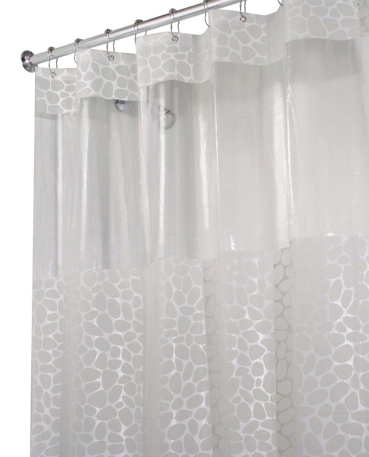 Amazon.com: InterDesign Pebblz Shower Curtain, Frosted White, 72 ...