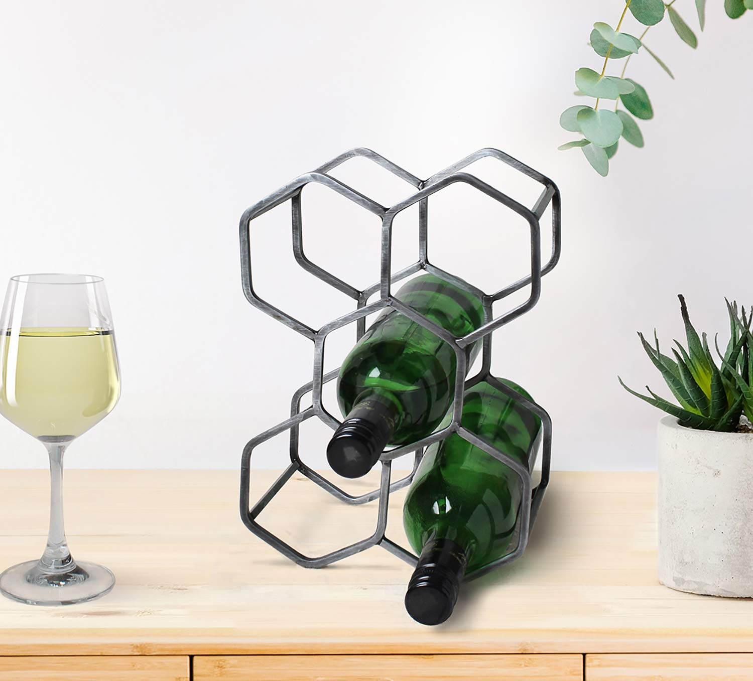 Store Indya, Handmade Wrought Iron Wine Rack Countertop Wine Bottle Holder Stand Store Indya (Silver Collection)