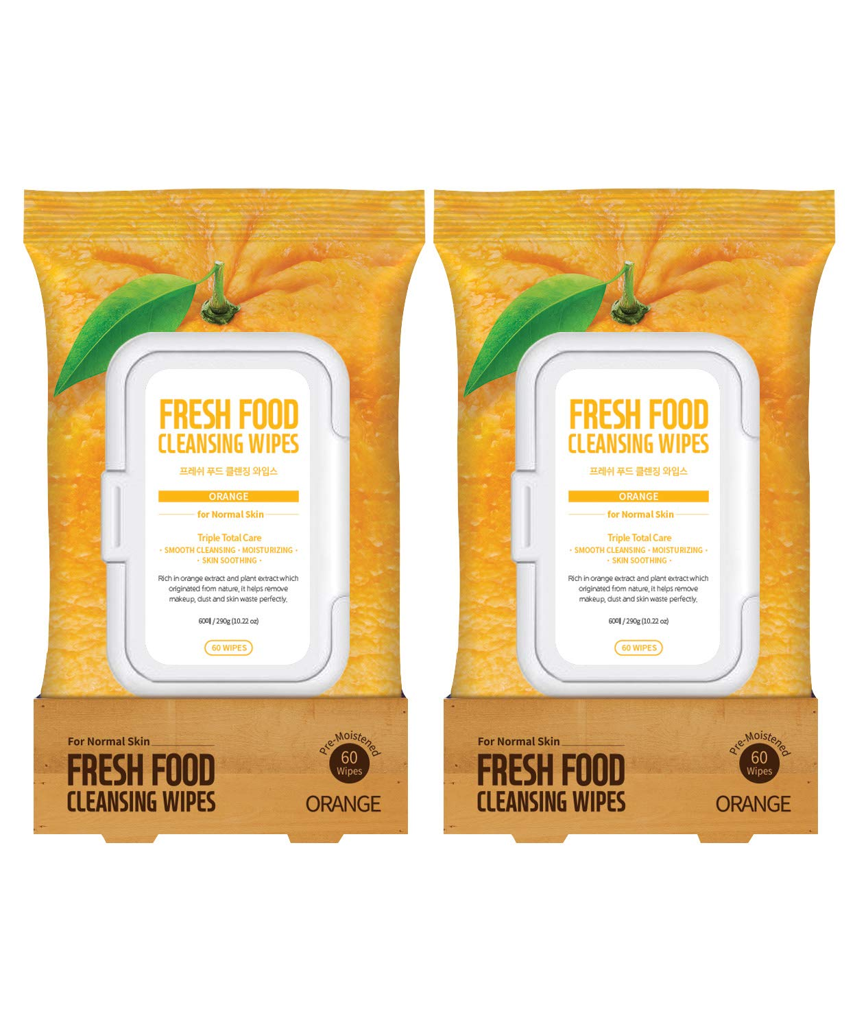 Face Wipes Makeup Remover Daily Simple Gentle Cleansing Cloth by Fresh Food for Skin (Orange, 2pk Normal (120 Count))