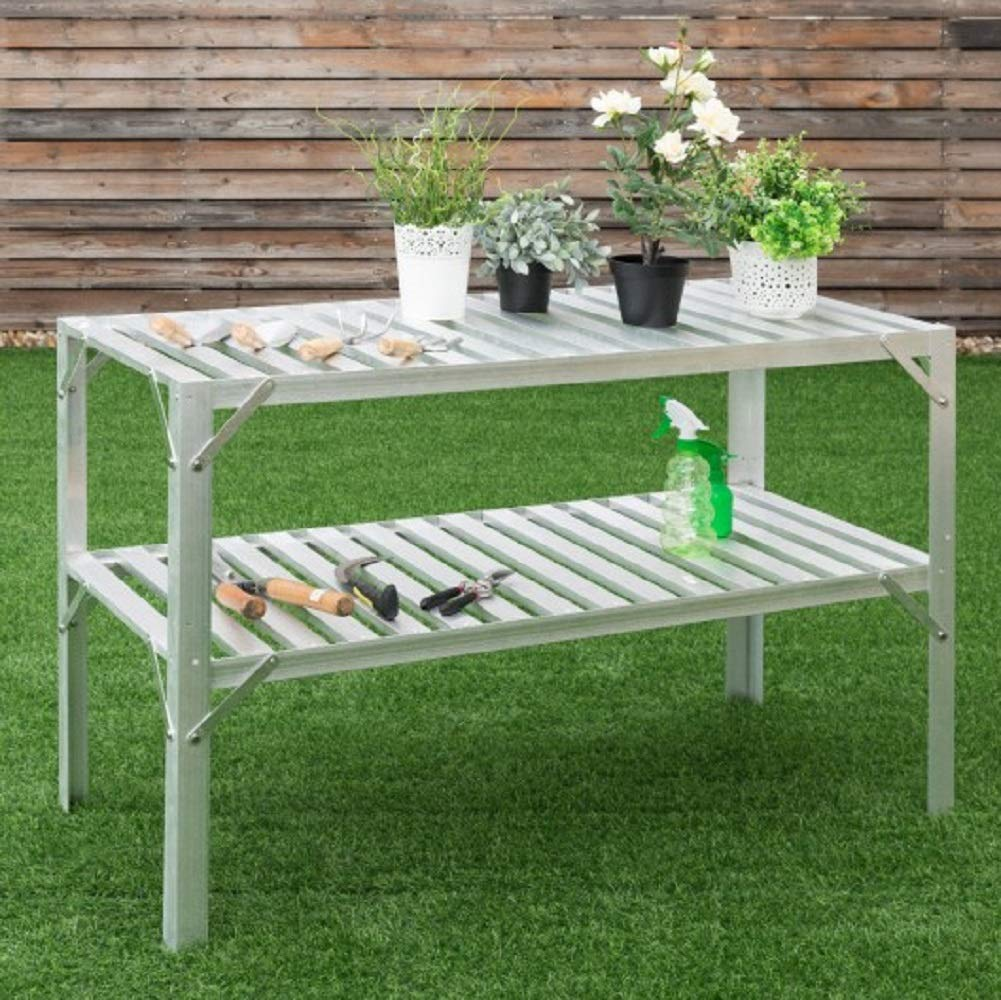 Brazen-X Greenhouse Aluminum Workbench Prepare Work Space Potting Table Garage Storage Shelves Potting Silver