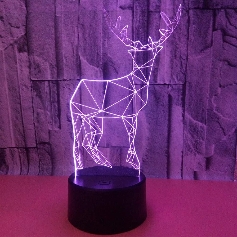 RGANT 3D Led Desk Lamp,Optical Illusion 7 Colors Touch Button/Remote Control Table Desk Visual Night Light Lamps Gifts Toys for Children Kids-Animal Deer
