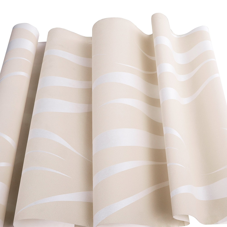 Oanon 3D beige Non Stick Wallpaper Non-woven Wallpaper Roll, Luxury Background Wallpaper Contemporary Wallpaper by Oanon (Image #4)