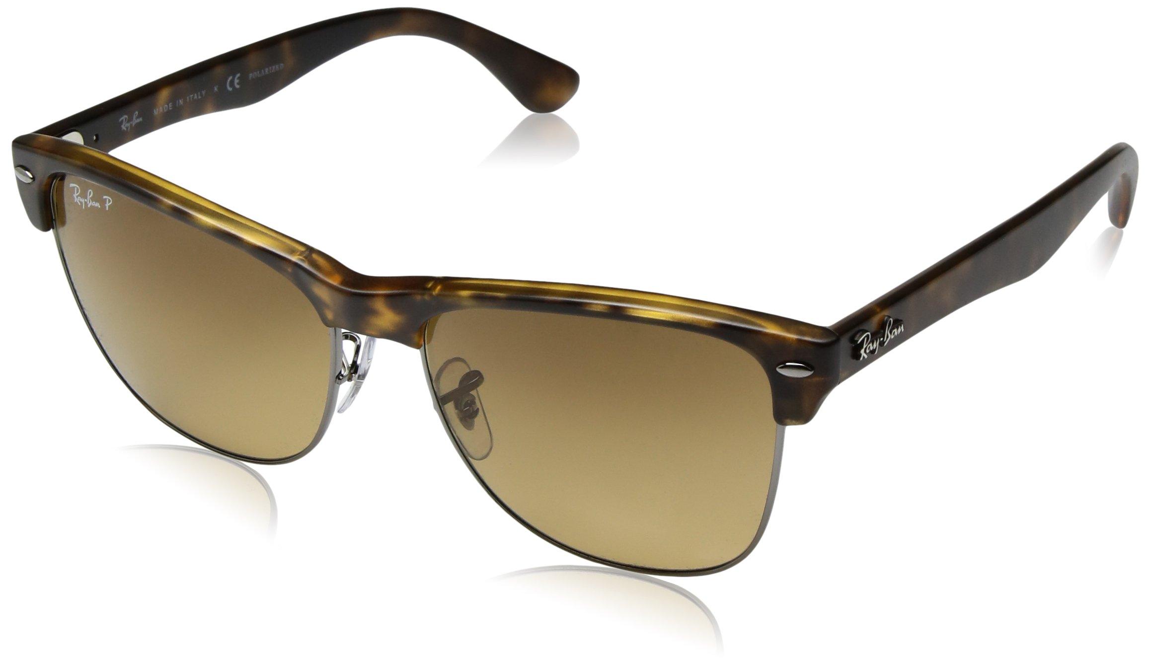 Ray-Ban Men's Clubmaster Oversized Polarized Square Sunglasses, Demi Gloss Havana, 57 mm