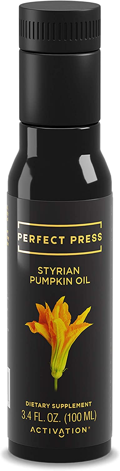 Activation Products, Perfect Press Styrian Pumpkin Oil Powerful Antioxidant Pumpkin Seed Supplement Organic, Vegan Liquid Pumpkin Seed Oil for Prostate, Bladder and Kidney Health, 100ml