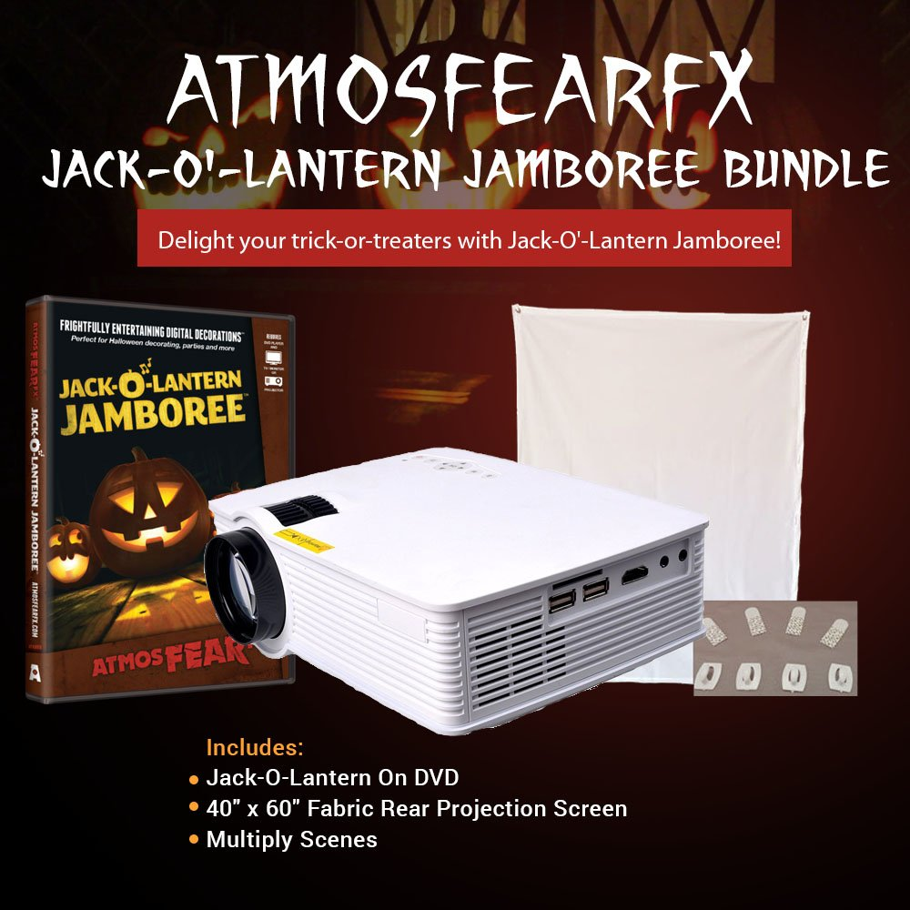 Singing Jack-o-lantern Jamboree Window Projection DVD Kit With Projection Screen