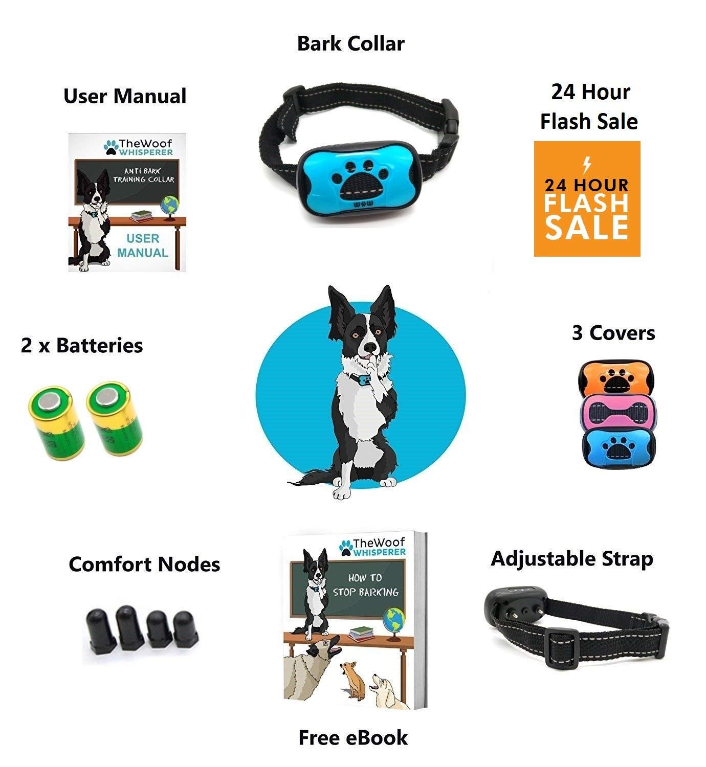 Anti Bark Collar Stop Dog Barking With Sound Vibration No Shock Mad Speed Shop These Are Great Diagrams Humane Training Small Medium Large Dogs Safely Free Blue