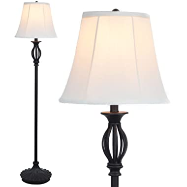 Light Accents Floor lamp Traditional Iron Scrollwork Tall Lamp with Shade, Standing Lamp Bronze with Fabric Shade