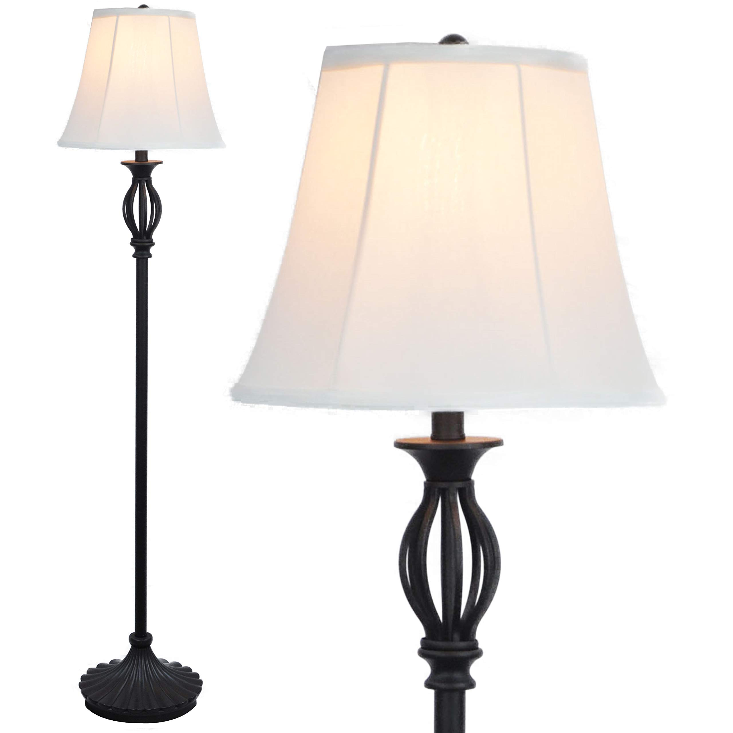 Floor Lamp by Lightaccents - Traditional Iron Scrollwork Standing Lamp with Shade, Lamps for Living Room Bronze with Fabric Shade - Floor Lamps for Living Room