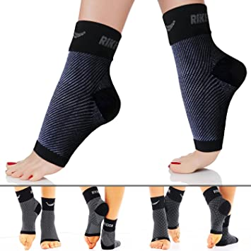 34aa92b692 Rikedom Sports (1 Pair) Best Plantar Fasciitis Foot Sleeves Graduated  Compression Heel Arch Ankle Sleeves Socks Brace Plantar Sock for Men and  Women, ...