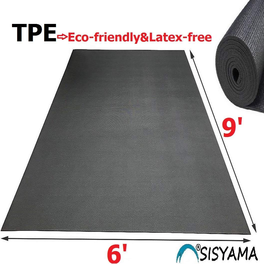 SISYAMA Extra Large Workout Mat 9' x 6' x 5mm Group Partner Aerial Yoga Mat Dance Barefoot Training Living Room Home Gym Flooring Non-Toxic Non-Slip