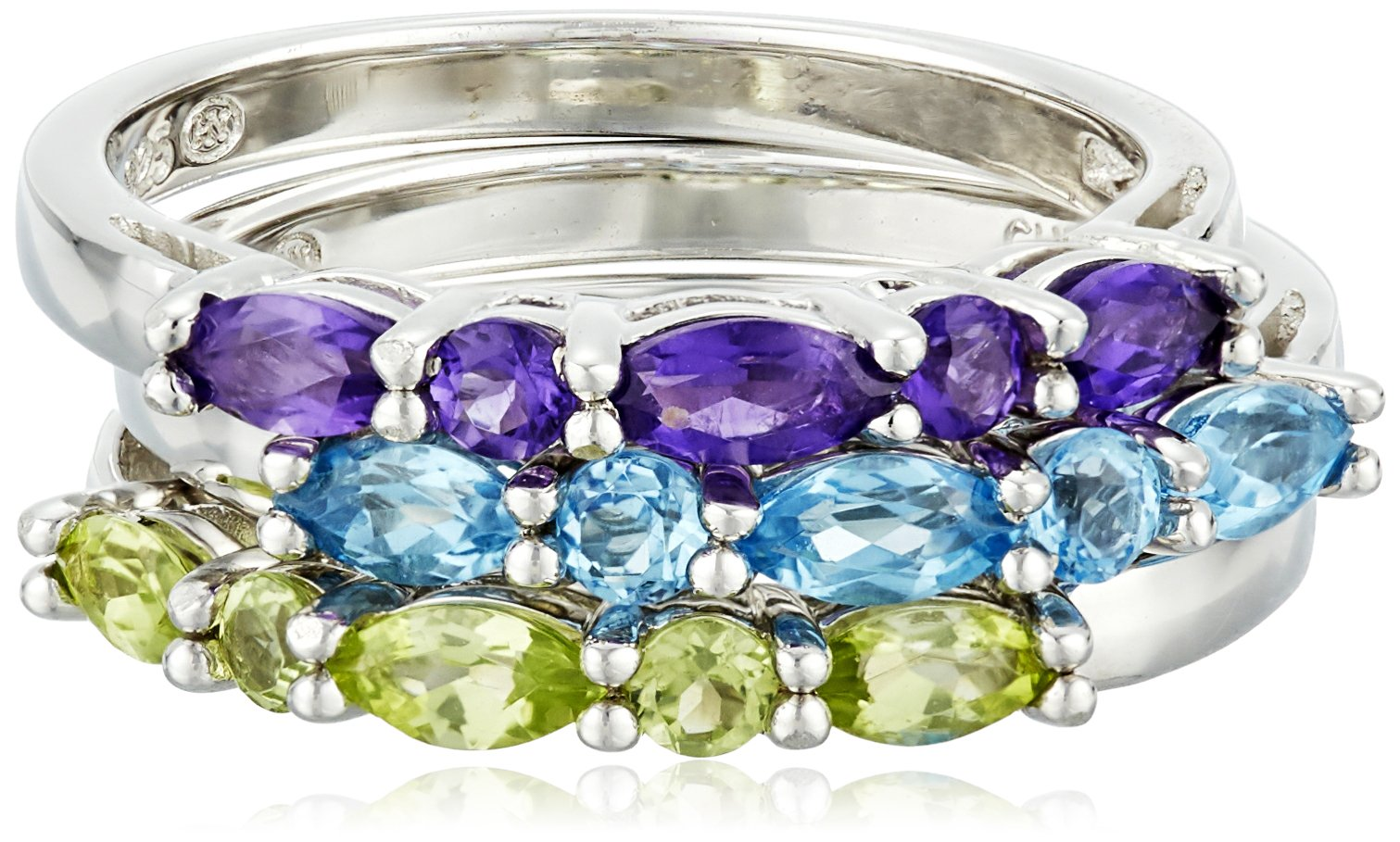 Sterling Silver Genuine African Amethyst, Swiss Blue Topaz and Peridot Stacking Rings (Set of 3), Size 7