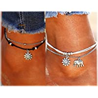 Boho Anklets,NewChiChi Ankle Bracelets, Blue Starfish Turtle Multi-Layer Charm Beads Beach Handmade Anklet Foot Jewelry Gifts for Women Girls