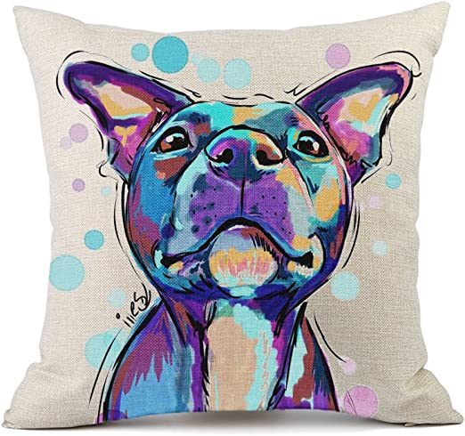 Vioaplem Cute Pet Pit Bull Dogs Pattern Cushion Cover Cotton Linen Sofa Decorative Throw Pillow Case for Home Decor 18x18 Inch