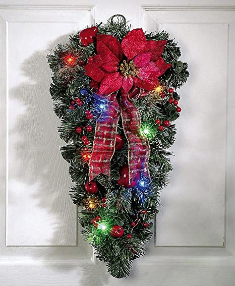LED Christmas Poinsettia Door Swag Decoration & Amazon.com: LED Christmas Poinsettia Door Swag Decoration: Garden ...