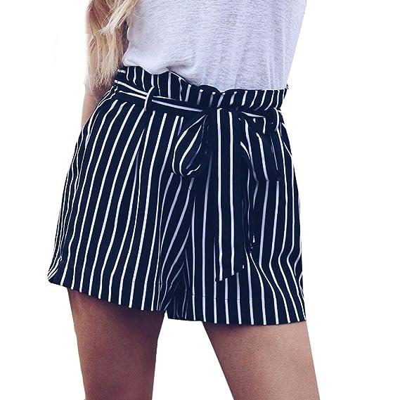 PAOLIAN Pantalones Cortos para Mujer Verano 2018 Casual Pantalones de  Vestir Estampado Rayas Fiesta con Cinturón Algodón Cintura Alta Pantalones  Cortos ... 00e7cbce14108