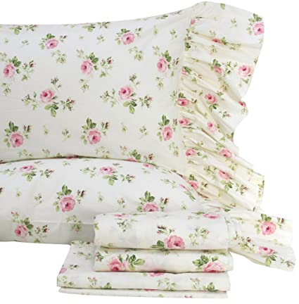 Queenu0027s House Shabby And Chic Floral Bed Sheet Set 4 Piece Twin Size Bed  Sets