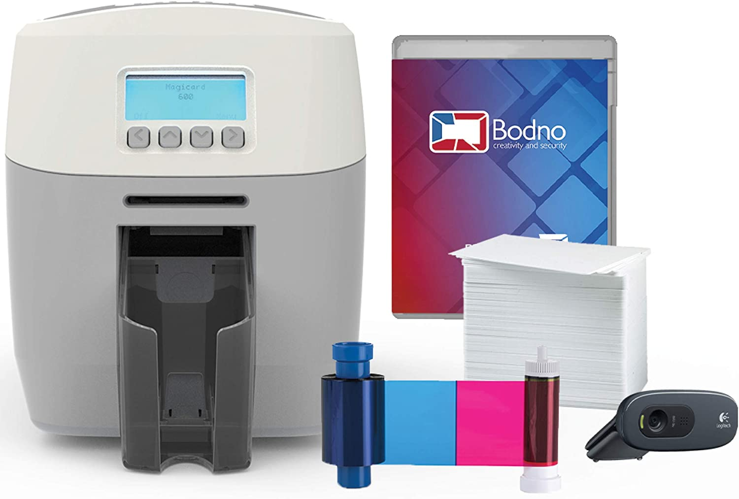 Magicard 600 Dual Sided ID Card Printer & Complete Supplies Package with Bodno ID Software - Bronze Edition