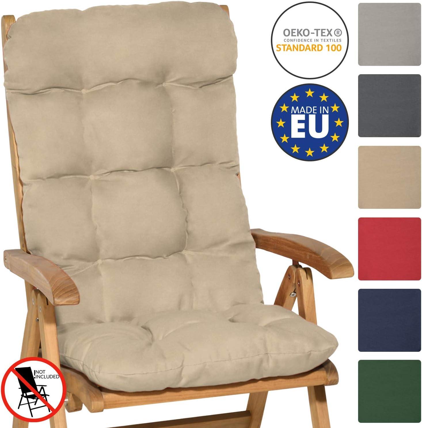 spiaggine e poltrone Rosso Beautissu Cuscino per Sedia a Sdraio Flair HL 120x50x8cm Extra Comfort per sedie reclinabili
