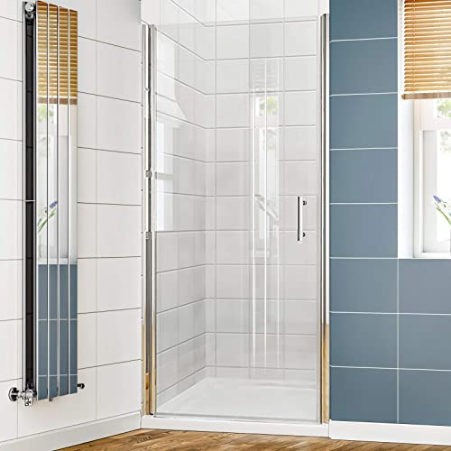 SUNNY SHOWER Pivot Shower Door Bathroom Glass Shower Door with 3 16 in. Clear Glass, 34. 5-36 in. W x 72 in. H, Chrome Finish Semi-Frameless Hinged Shower Door