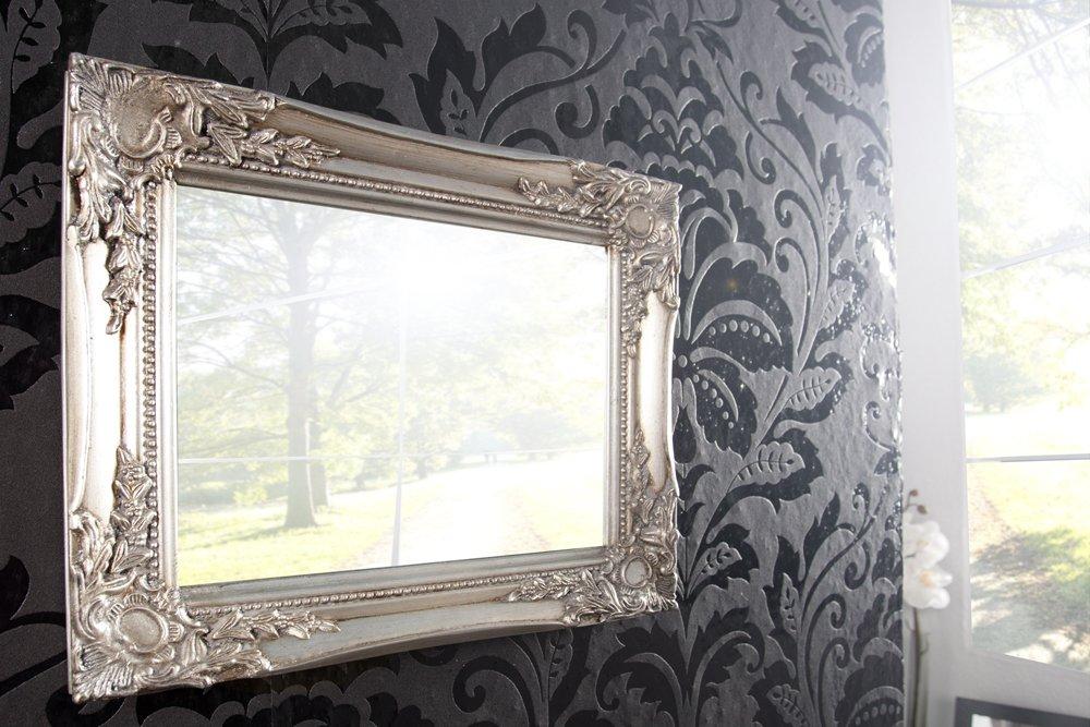 Stilvoller Barock Wandspiegel DYNASTY silber 32cm Spiegel Dekoration ...