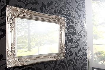 Stilvoller Barock Wandspiegel DYNASTY Silber 32cm Spiegel Dekoration