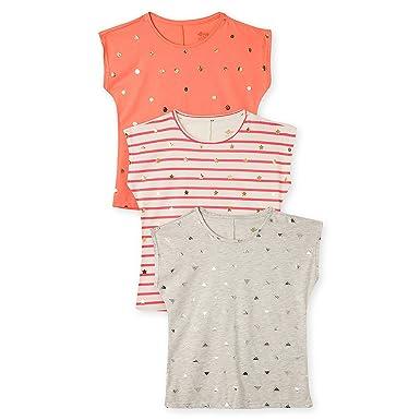OFFCORSS Big Girls colorful Trendy Summer Weekend Plain Blouse Top Mini Neon Cute Tee Shirt Short