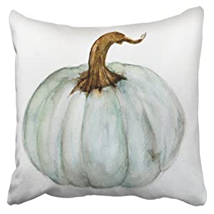 Accrocn Pillowcases Decorative Autumn Fall Free Blue Gray Cinderella Pumpkin Watercolor Throw Pillow Covers Case Cases Cover Cushion Sofa Size 18x18 Inches Two Side