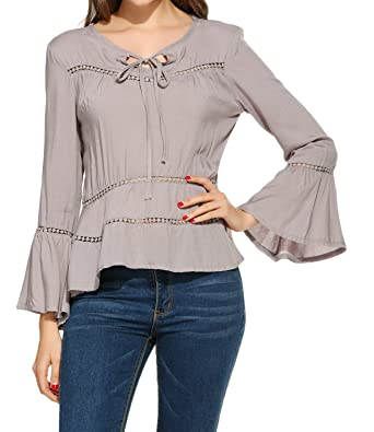 9263140406551 Zeagoo Women Hollow Out Blouse Lace up Bell Sleeve Tunic Tops Shirt at  Amazon Women s Clothing store