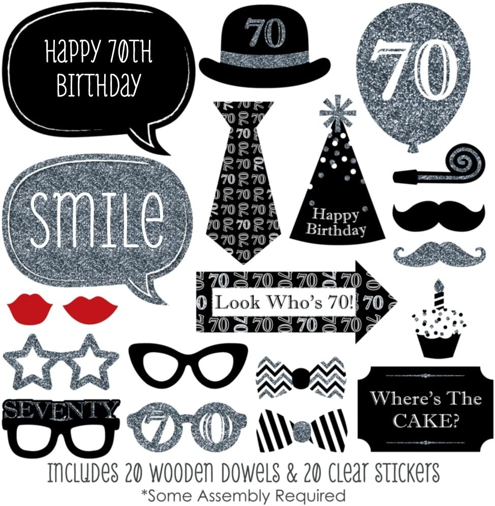 Silver 20 Count Big Dot of Happiness Adult 70th Birthday Birthday Party Photo Booth Props Kit