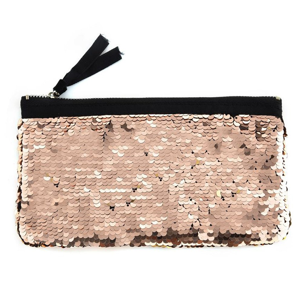 Clearance! Women Make-up Bag Double Color Sequins Coin Cards Holder Purse Wallet Pencil Pouch (A)