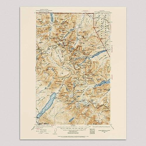 Amazon.com: Old Glacier National Park Map Art Print, Montana ...