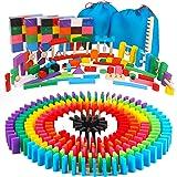 AISFA 積み木 ドミノ倒し 知育玩具480個 ギミック 仕掛け 43種セット 木製 カラフル こども 誕生日 プレゼント 並べる用道具と収納袋 セット