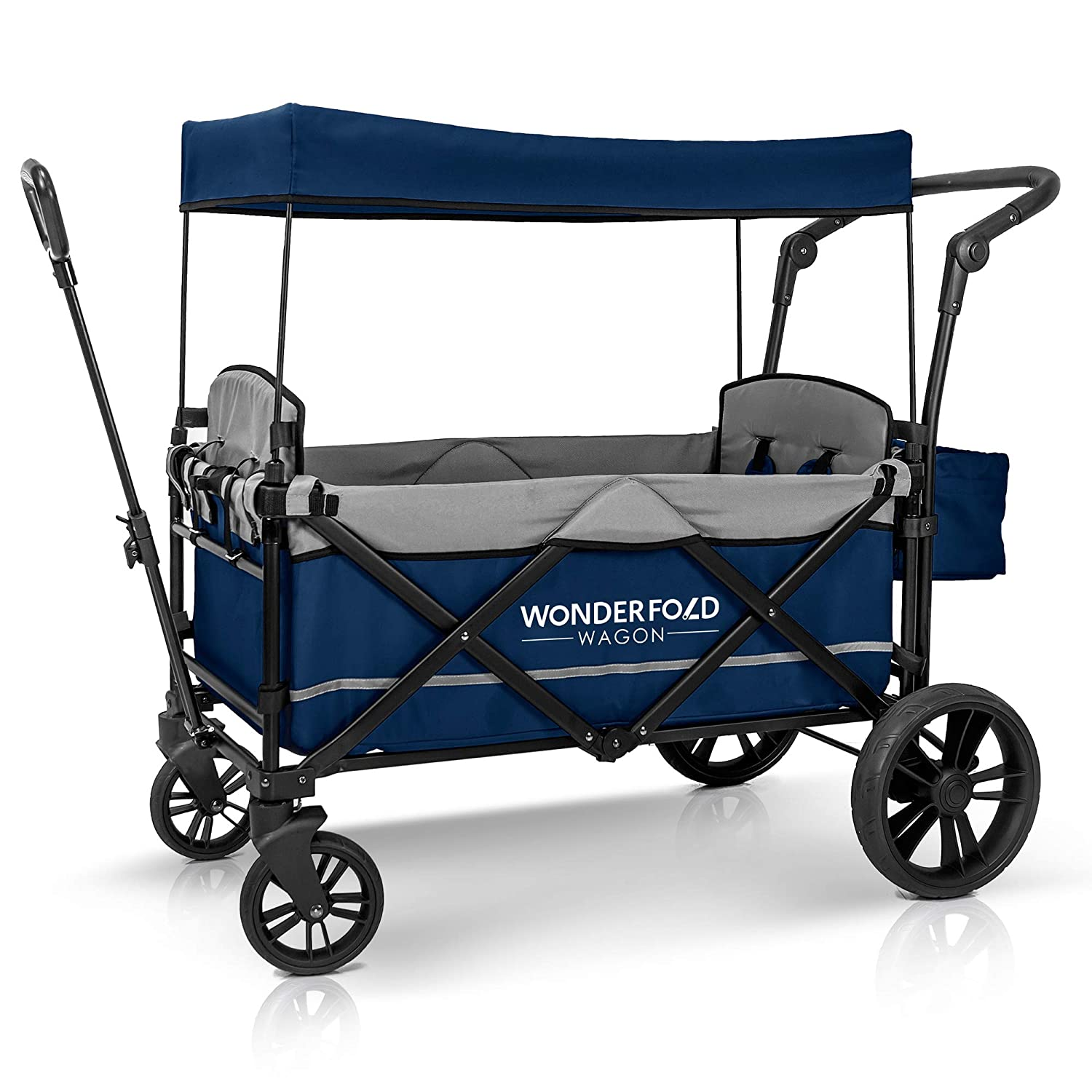 WonderFold Baby XL 2 Passenger Push Pull Twin Double Stroller Wagon with Adjustable Handle Bar, Removable Canopy, Safety Seats with 5-Point Harness, One-Step Foot Brake, Safety Reflective Strip Navy