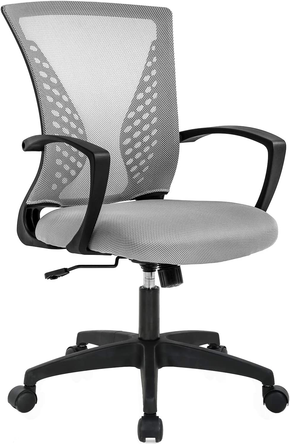Office Chair Ergonomic Desk Chair Mesh Computer Chair with Lumbar Support Armrest Mid Back Rolling Swivel Task Adjustable Chair for Women Adults, Grey