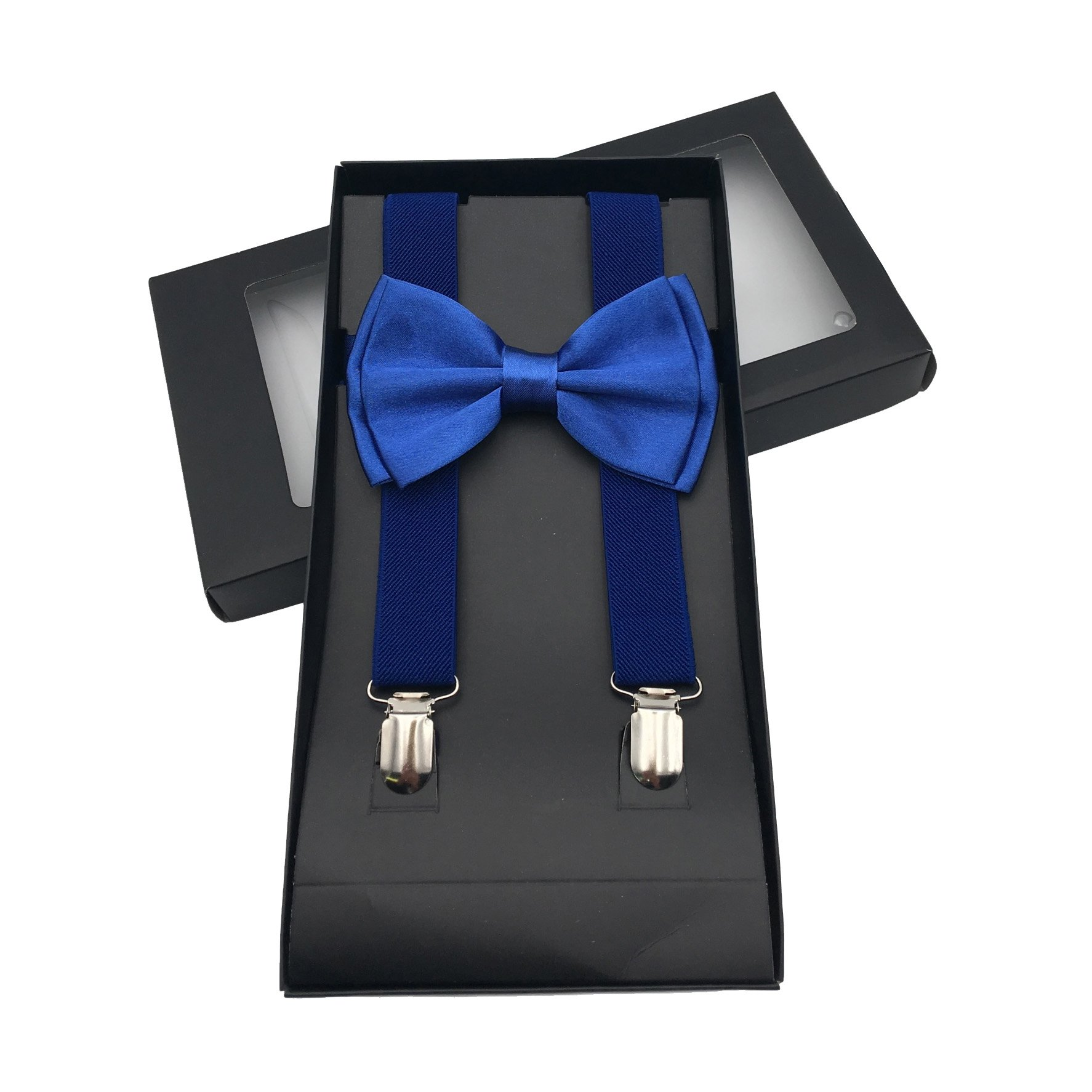 Y-Back Suspenders and Bow Tie Matching Set, Pre-Tied, Clip Design, Elastic, Adjustable Straps, Classic | Great for Weddings,Parties,Graduations, Theme Party | Nice&Unique Gifts for Men (Royal Blue)