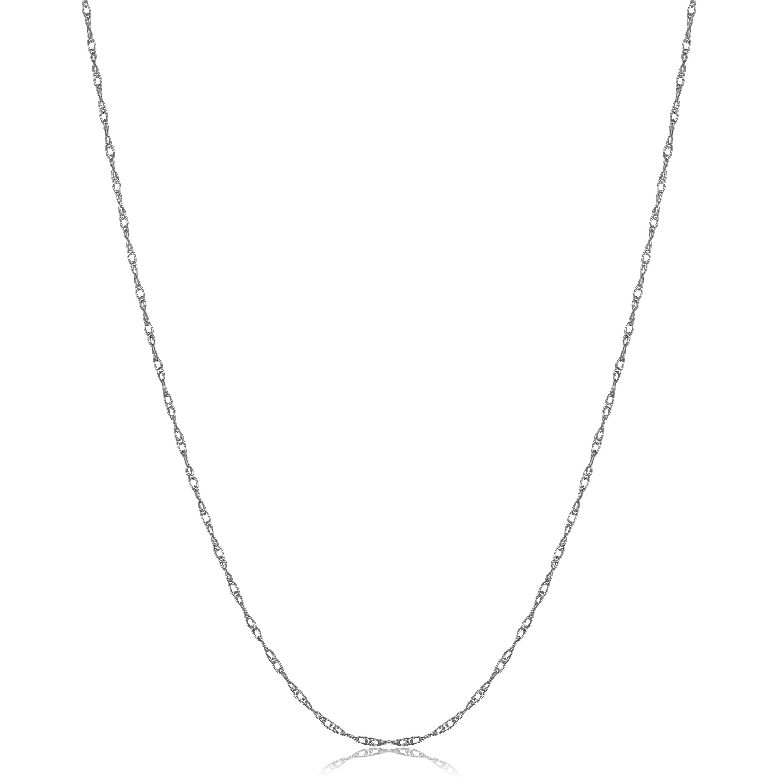 Solid 14k White Gold Thin Rope Chain Necklace (0.7mm, 14 inch)