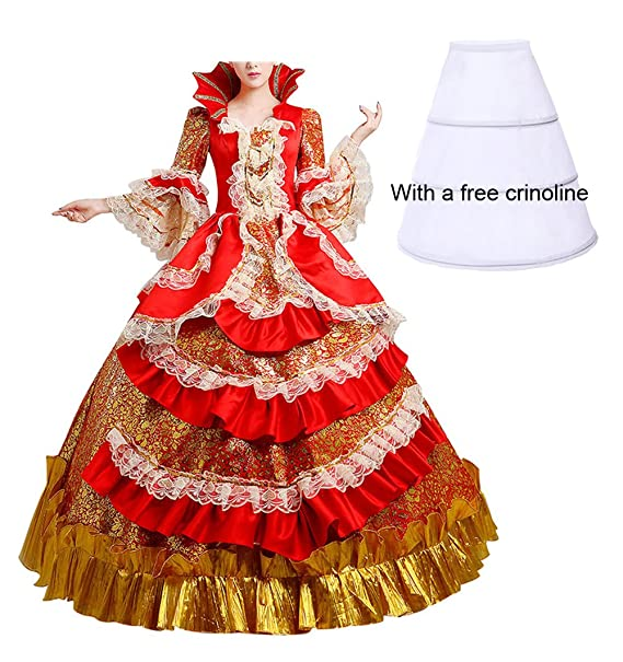 Nuoqi - Vestido - globo - manga 3/4 - para mujer Rojo CC2377I