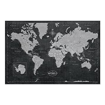 Amazon world map poster conquest maps modern world map style world map poster conquest maps modern world map style decor to track your travels gumiabroncs Choice Image