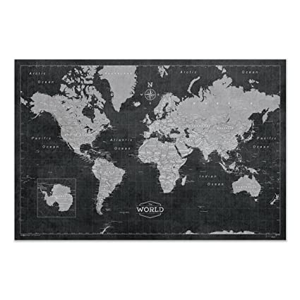 Modern Map Of The World.World Map Poster Conquest Maps Modern World Map Style Decor To Track Your Travels Pin Your Adventures Matte Poster Paper Detailed Graphics