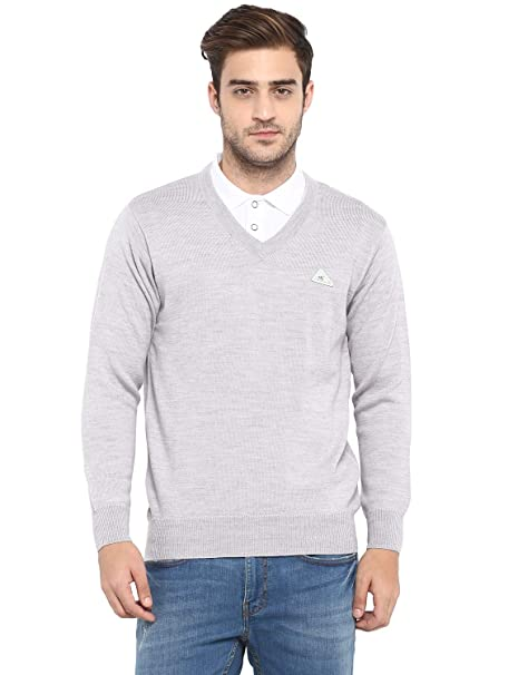 a1ebe7cf183 Monte Carlo Light Grey Solid Pure Wool V Neck Pullover  Amazon.in  Clothing    Accessories
