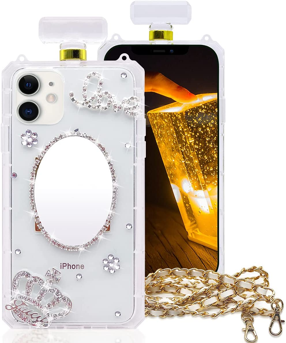 RISEUP Compatible with iPhone 12/12 Pro Makeup Mirror Case Luxury Bling Perfume Bottle for Women Diamond Elegant Crystal Rhinestone Crown Love Gem Flower with Crossbody Strap Protective Case Clear