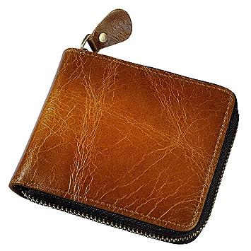 Bifold Multi Card Holder Purse Cartera de cuero genuino de los hombres Cartera de los hombres ...