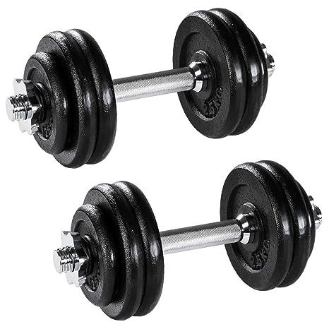 Juego de 2 Mancuernas de Hierro Fundido de 15 kg para Ejercicios de Fitness, Fitnes