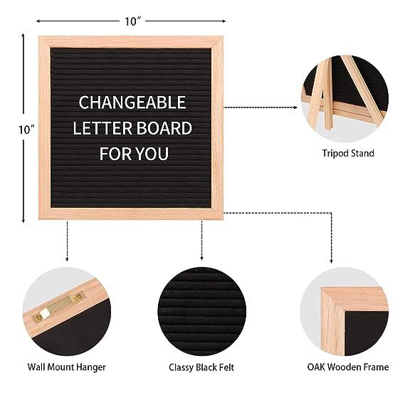 Tabla de letras de fieltro intercambiable con pizarra de 25,4 x 25,4 cm, Aufisi, doble cara, con 940 letras + soporte + bolsa de lona + más, ...