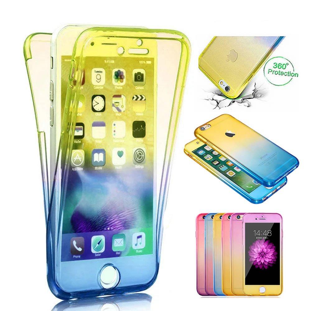 Sycode 360 Grad Handyhülle für iPhone 6S Plus / 6 Plus, Full Body 2 in 1 Hülle für iPhone 6 Plus, Modisch Gradient Farbe Ultra Dünn Front Back TPU Silikon Gel Stoßdämpfend Transparent Beidseitiger Vorne und Hinten 360°Double Doppelseitig Weich Komplette Sl