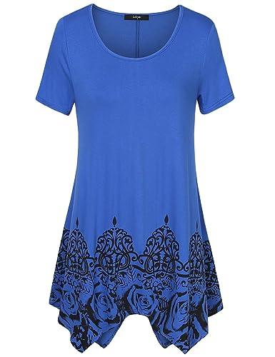Laksmi Womens Printed Short Sleeve Scoop Neck Asymmetrical Hem A Line Casual Flow Tunic Top Shirts