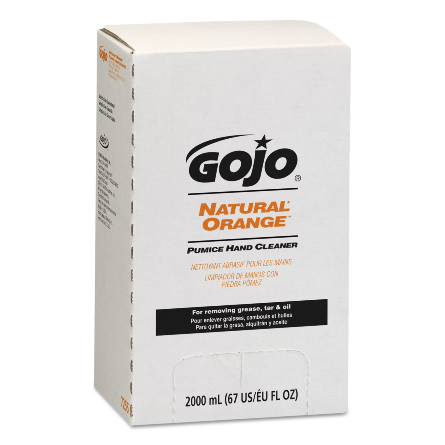 GOJO NATURAL ORANGE Pumice Hand Cleaner, 2000 mL Quick Acting Lotion Hand Cleaner with Pumice Refill for GOJO PRO TDX Dispenser (Pack of 4) - 7255-04 by Gojo