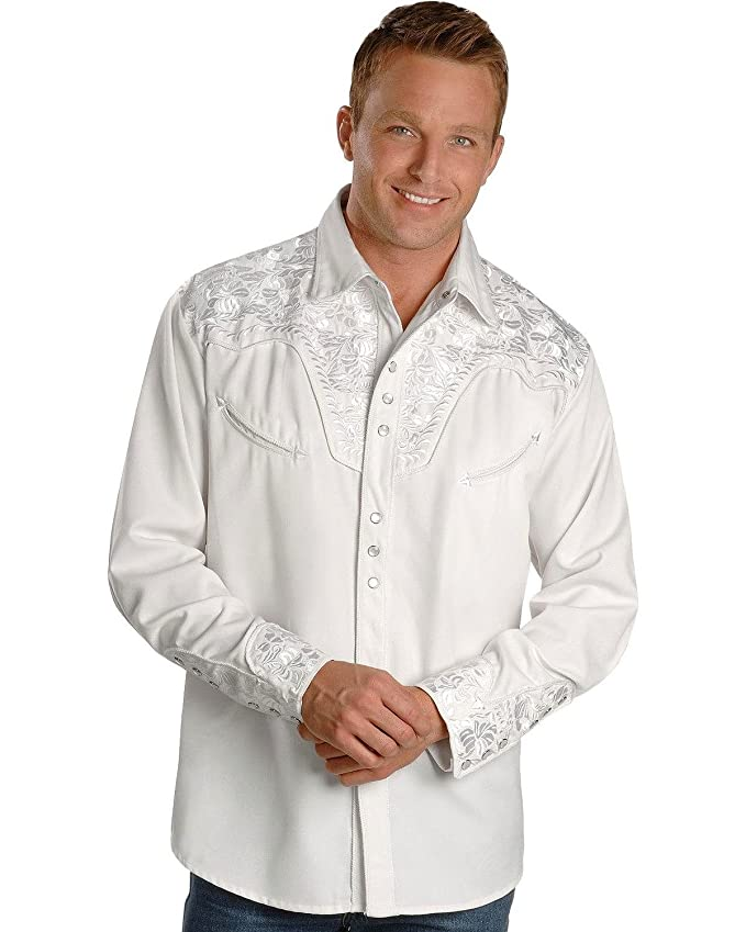 1960s Inspired Fashion: Recreate the Look Scully Mens White Floral Embroidery Retro Western Shirt - P-634 White $91.00 AT vintagedancer.com